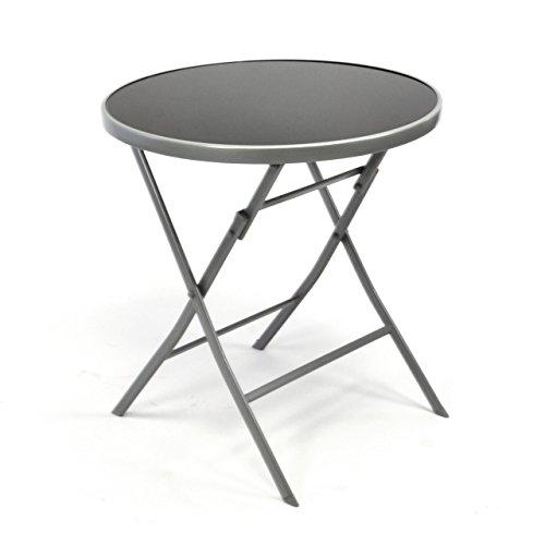 nexos bistrotisch mit glasplatte klappbar terrassentisch gartentisch glastisch schwarz. Black Bedroom Furniture Sets. Home Design Ideas