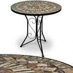 Mosaiktisch Gartentisch Balkontisch Bistrotisch Beistelltisch Kaffeetisch Tisch stabiler, wetterfester Tischgestell handgefertigte Mosaik Tischplatte Ø 60 cm – Modell Barcelona – weitere Modellauswahl