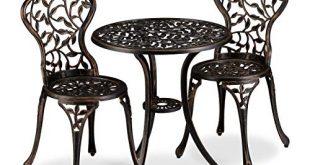 Relaxdays Balkonmoebel Set 3 teilig Balkontisch mit 2 Stuehlen verziert Aluminium 310x165 - Relaxdays Balkonmöbel Set, 3-teilig, Balkontisch mit 2 Stühlen, verziert, Aluminium, Bistrotisch HxD: 65x60 cm, Bronze